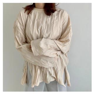 TODAYFUL - pleats processing side cut long T blouse