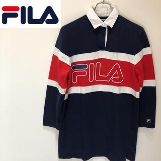 フィラ(FILA)の★ 90s FILA フィラ ラガーシャツ ポロ  ビックロゴ ゆるダボ(ポロシャツ)