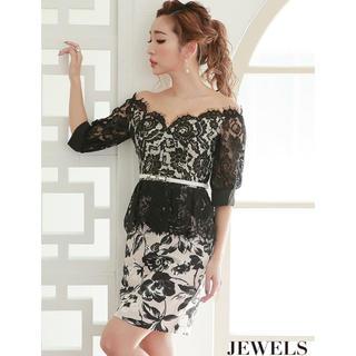 JEWELS - jewels ベルト付き 花柄 ブラック レース ペプラム  オフショル