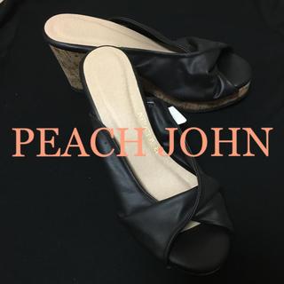 ピーチジョン(PEACH JOHN)の【新品】peach john ウエッジソールサンダル【ブラック】(サンダル)