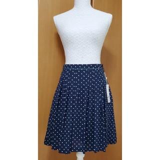 エニィスィス(anySiS)のanySiS スカート 紺色 水玉 ドット タグ付き(ひざ丈スカート)