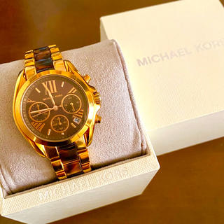 Michael Kors - 【美品!!】マイケルコース 英字クロノグラフ 腕時計 べっ甲 プレゼント🎀