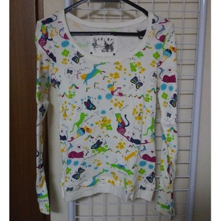 スカラー(ScoLar)のScoLar ワッフル生地 ラメ 長袖 Tシャツ(Tシャツ(長袖/七分))