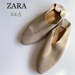 ザラ(ZARA)のザラ ソフトレザーシューズ ソフトレザーバレエシューズ 24.5(バレエシューズ)