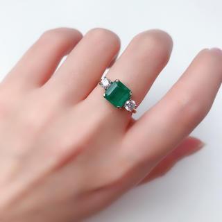 750 エメラルド ダイヤモンド リング 指輪 ソーティング イエローゴールド(リング(指輪))