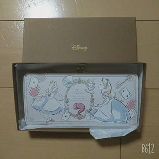 ディズニー(Disney)の【新品】ディズニー がま口長財布 不思議の国のアリス チェシャ猫 白うさぎ(財布)