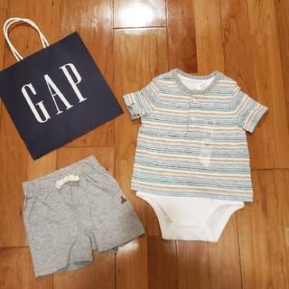 ベビーギャップ(babyGAP)の70 ロンパース一体型半袖トップス&ショートパンツ(ロンパース)