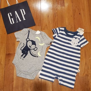 ベビーギャップ(babyGAP)の70 ショートオール&ロンパース 2枚セット(ロンパース)