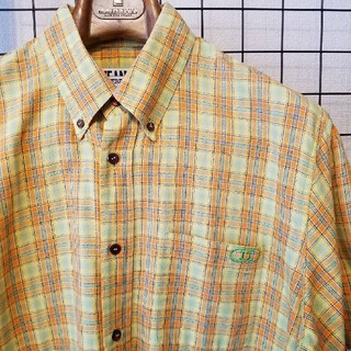 アイスバーグ(ICEBERG)のイタリア製 ICEBERG JEANS 刺繍入り ボタンダウンチェック柄シャツ(シャツ)