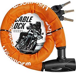 Homwarm バイクロック チェーンロック バイク 自転車 ワイヤーロック(装備/装具)