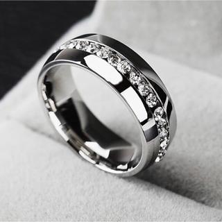 新品 22号 316l ステンレス製 AAA CZ ダイヤモンドリング 送料無料(リング(指輪))