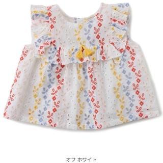 petit main - 【未使用】プティマイン petit main スクエアレース シャツ 80