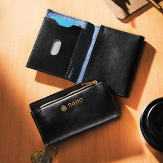 nano・universe - ナノ・ユニバース リサイクルレザー製小銭入れポーチ&カードケースセット