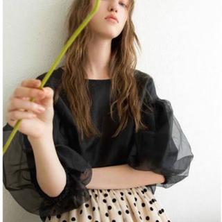 カロリナグレイサー(CAROLINA GLASER)のカロリナグレイサー ビームス 定価1.4万 M 黒 オーガンジーパフ袖 ブラウス(シャツ/ブラウス(半袖/袖なし))