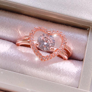 Heart Crystal Ring 💓 ピンクゴールド(リング(指輪))