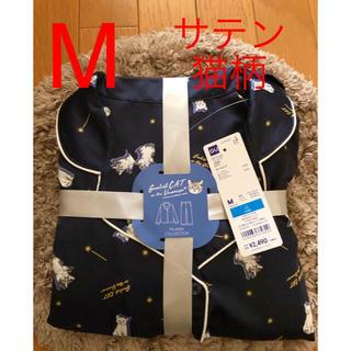 ジーユー(GU)の新品 gu ジーユー サテン パジャマ 長袖  猫 ネイビー 青 紺 (キャラクターグッズ)