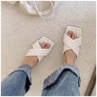 ESPERANZA - サンダル 夏 靴 編み込み ぺたんこ ローヒール