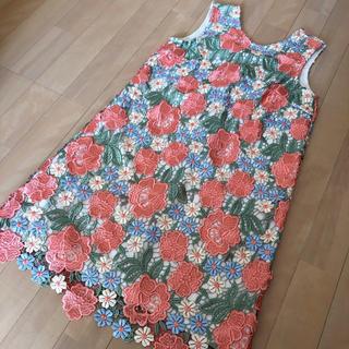 リリーブラウン(Lily Brown)のリリーブラウン フラワー レース 刺繍 ワンピース 花柄 ピンク(ひざ丈ワンピース)
