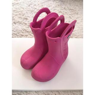 クロックス(crocs)のクロックスの長靴 レインブーツ ピンク 18.5cm(長靴/レインシューズ)