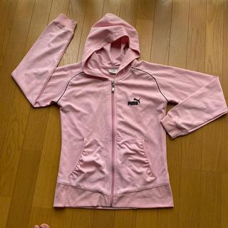 プーマ(PUMA)のプーマ ピンク ロゴ刺繍 パーカー付 ジャージ S(パーカー)