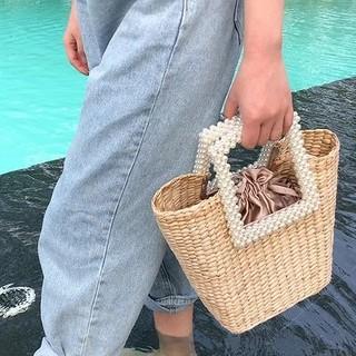 ザラ(ZARA)の巾着 パールトートバッグ ストロー  チェーン(トートバッグ)