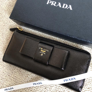 PRADA - 美品 プラダ 長財布 L字ファスナー リボン