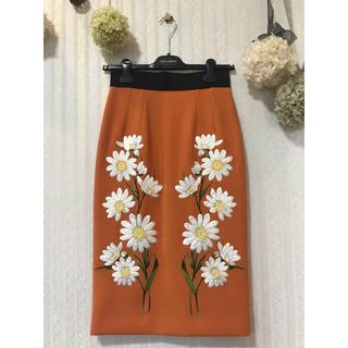 ドルチェアンドガッバーナ(DOLCE&GABBANA)のドルチェ&ガッバーナ フラワー刺繍スカート(ひざ丈スカート)