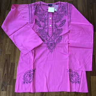 アンティックバティック(Antik batik)の涼しく可愛い!ANTIK BATIK刺繍 長袖カットソー M ピンクブラック(シャツ/ブラウス(長袖/七分))