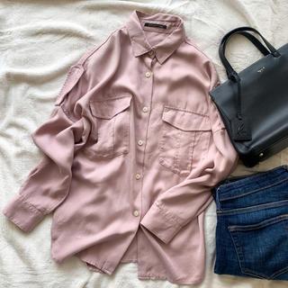 BARNYARDSTORM - 最終値下げ!バンヤードストーム くすみピンク とろみシャツ ミリタリーシャツ