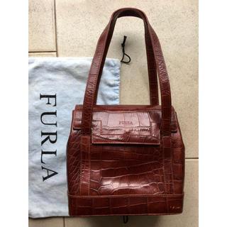 Furla - フルラ ブラウン 型押しハンドバッグ