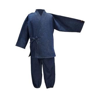 新品送料込み 男の子 デニム作務衣 120cm KSE003(和服/着物)