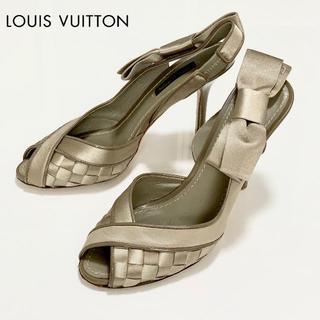 LOUIS VUITTON - 81 ヴィトン サテン オープントゥパンプス