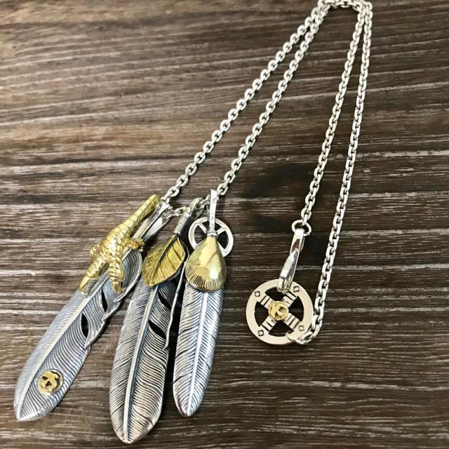 goro's(ゴローズ)のsilver 金爪 上金ハート フェザーネックレス / ゴローズ 好きに  メンズのアクセサリー(ネックレス)の商品写真