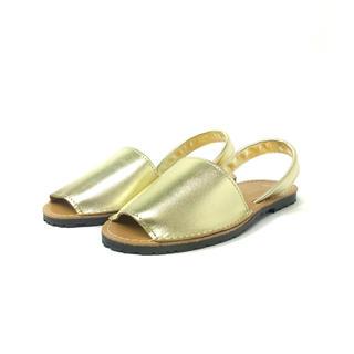 イアパピヨネ(ear PAPILLONNER)のgitana オープントゥ サンダル ゴールド 24.5cm 4805329(サンダル)