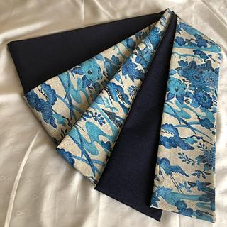 半幅帯 ターコイズウール×藍色シルクウール