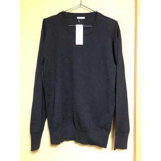 ジーユー(GU)のファインゲージクルーネックセーター 長袖 ブラック メンズ Mサイズ(ニット/セーター)