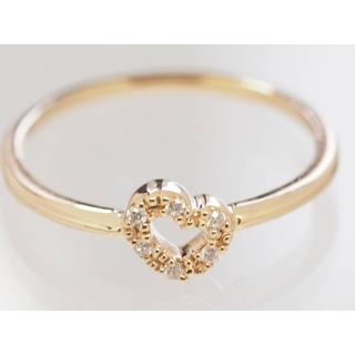 ヨンドシー(4℃)の質屋出品m 4℃ ヨンドシー 天然ダイヤモンドハートイエローゴールドリング(リング(指輪))