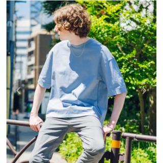 ビューティアンドユースユナイテッドアローズ(BEAUTY&YOUTH UNITED ARROWS)のパブリックトウキョウ クルーネックTシャツ極素材 ライトブルーオーバーサイズ美品(Tシャツ/カットソー(半袖/袖なし))