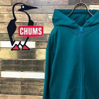 CHUMS - 90's CHUMS チャムス ロゴ刺繍 ジップアップパーカー 大人気