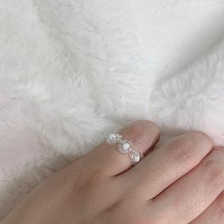 【ハンドメイド】ビーズリング 透明 偏光 リング 指輪 韓国 アクセサリー(リング)