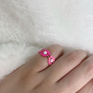 【ハンドメイド】ビーズリング ピンク 緑 原宿 リング 指輪 韓国 アクセサリー(リング)