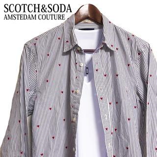 SCOTCH & SODA - SCOTCH&SODA 総柄シャツ ストライプシャツ ハート柄シャツ長袖シャツ青
