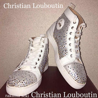 Christian Louboutin - 激レア ルブタン ハイカット スニーカー 25.スワロフスキー 白シルバー