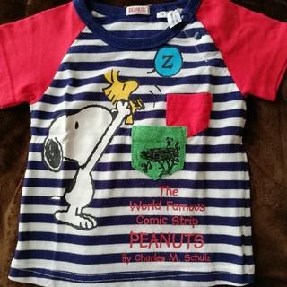 ピーナッツ(PEANUTS)の90SNOOPYスヌーピー半袖Tシャツボーダーしましま紺色(Tシャツ/カットソー)