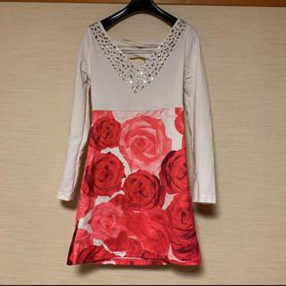 エミリアウィズ(EmiriaWiz)のキャバドレス ワンピース ストリップキャバレー デート服 可愛い 薔薇 ビジュー(ミニドレス)