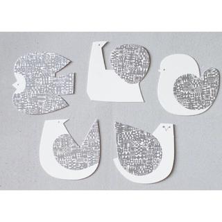 イデー(IDEE)のバーズワーズ メッセージカード シルバー 5枚セット(その他)