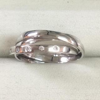 ★サイズ17号★プラチナPt900ダイヤモンド3連リング★5P入り・0.06ct(リング(指輪))