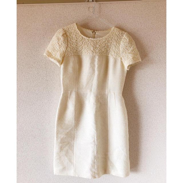 Debut de Fiore(デビュードフィオレ)の襟刺繍ツィードワンピース レディースのワンピース(ひざ丈ワンピース)の商品写真