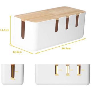 電源タップ & ケーブルボックス テーブルタップ収納ボックス 天然木&樹脂製