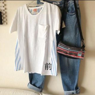 CUBE SUGAR - 再値下げ♡cube sugar  異素材プルオーバー ストライプ Tシャツ